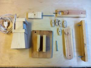 Bauteile der Holzlampe